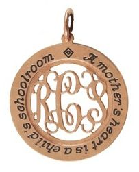 The HeartStrings Mother's Love necklace can be personalized with a favorite saying or children's names around the edge, and mom's monogram is cut in gorgeous filigree in the center. Available in copper, silver, and pewter with just a 2 week lead time!
