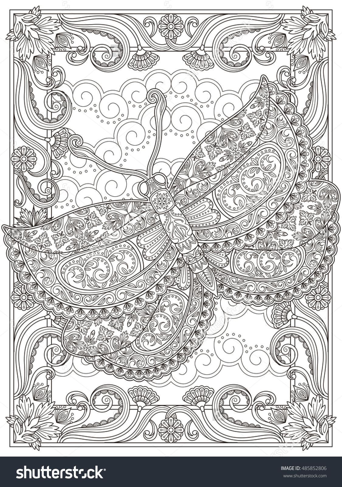 Graceful Adult Coloring Page Magnificent Moth With Floral Decorations Anti Stress Pattern For