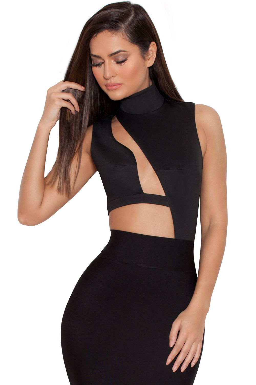 ef1d8245d0 Clothing   Bodysuits    Malla  Black Asymmetric Cut Out Bodysuit ...