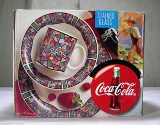 159452405_coca-cola-12-pc-dinnerware-set-stained-glass- : gibson coca cola dinnerware - pezcame.com