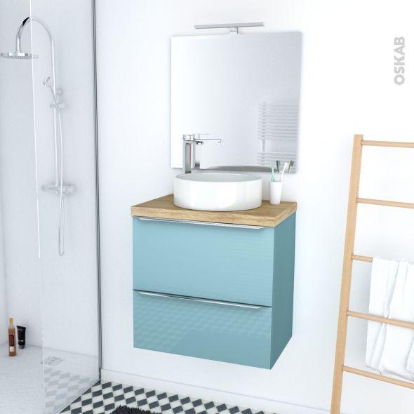 Ensemble salle de bains Meuble KERIA Bleu Plan de toilette Hosta