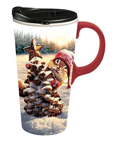 Cypress Home Chipmunk Pinecone Tree 17-Oz. Travel Mug ...