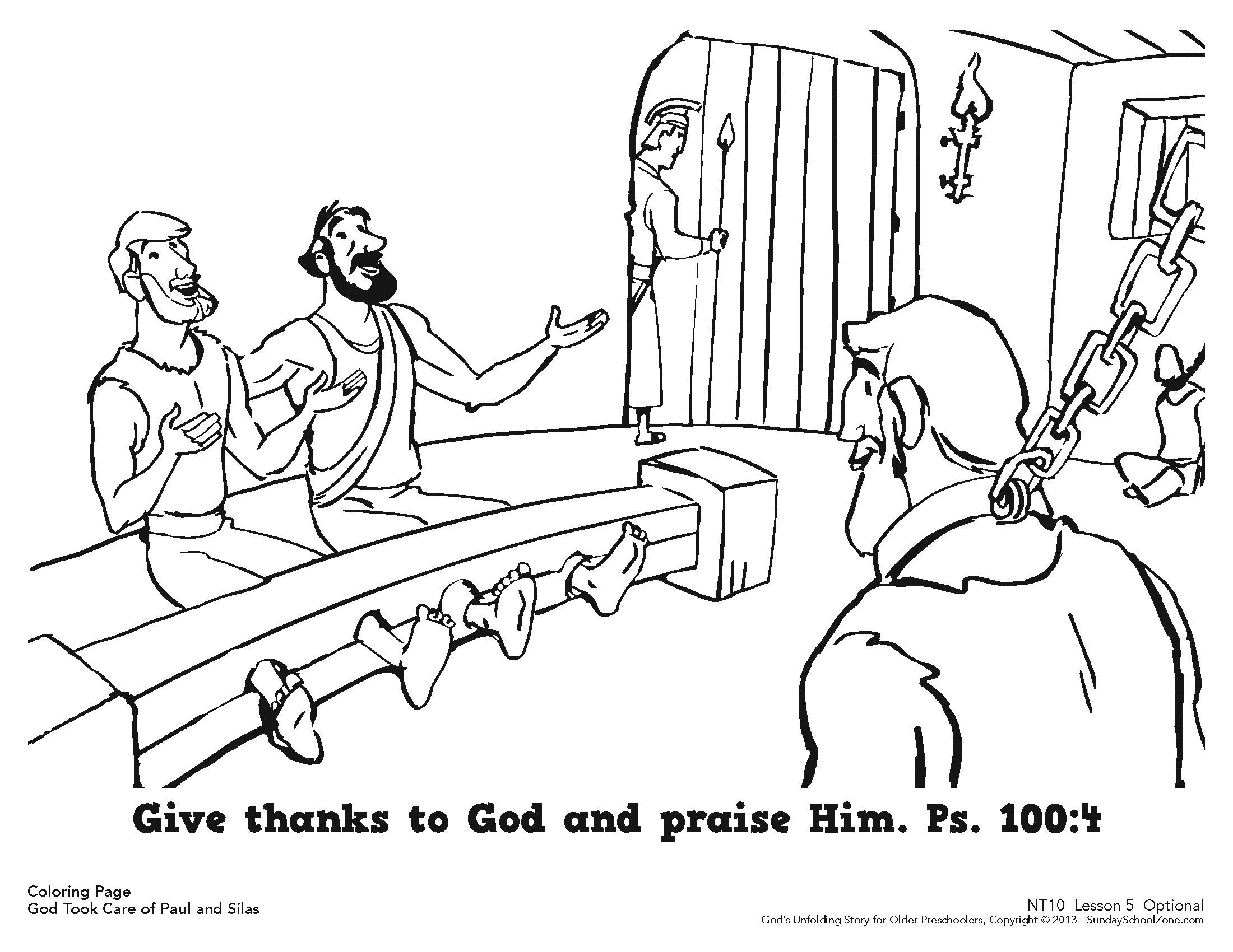 Paul And Silas Were Rescued From Jail Coloring Page For
