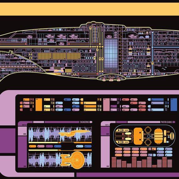 U S S Enterprise Galaxy Class Starship Lcars Print Etsy
