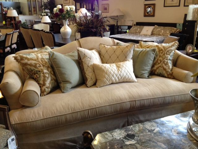 Hickory White Sofa Single Bench Cushion Standard With Nine Pillows As Shown Dressmaker