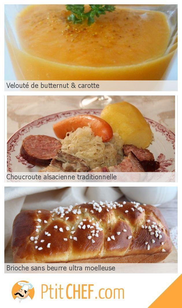 Menu du jour - Dimanche 10 novembre // #ptitchef #recette #cuisine #menu #menudujour #idée #repas #velouté #butternut #carotte #choucroute #brioche #recettefacile #cuisinefacile #recettenovembre
