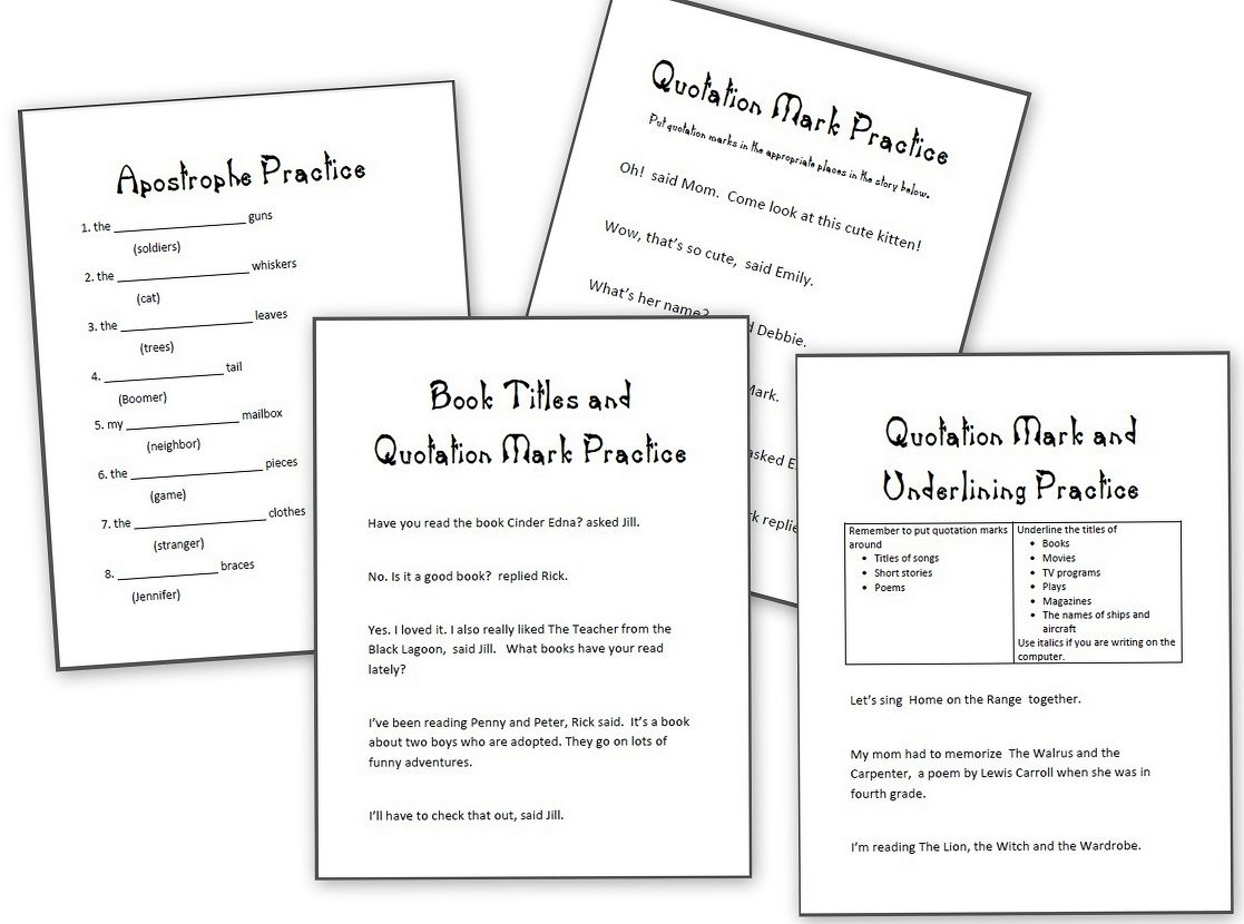Comma Rules, Apostrophes, Underlining and Other Free Grammar Sheets ...