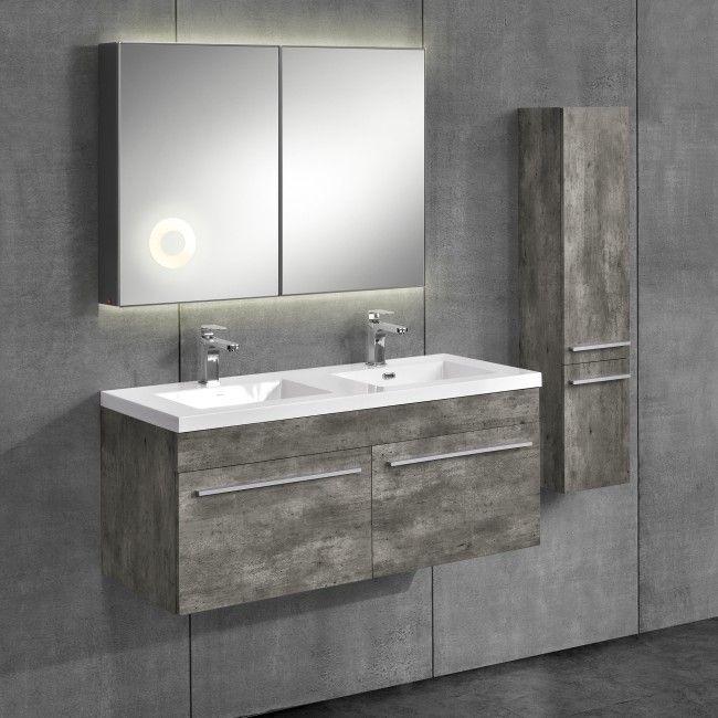 neuhaus 3-teiliges Badezimmerschrank-Set Zement-Optik mit - badezimmerschrank mit waschbecken