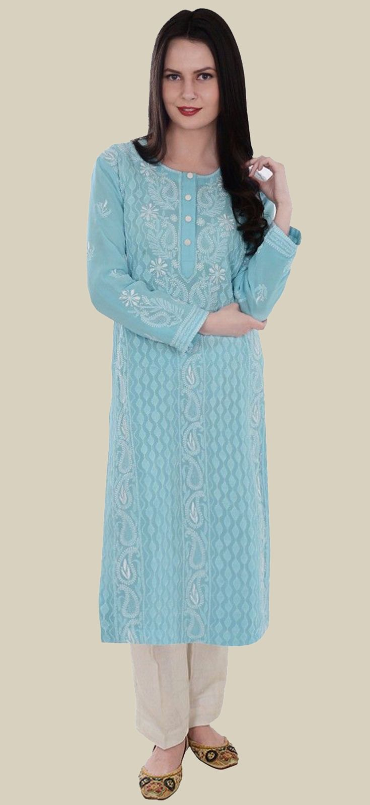 Aqua Blue Pure Georgette Hand Embroidered Chikankari Long Tunic