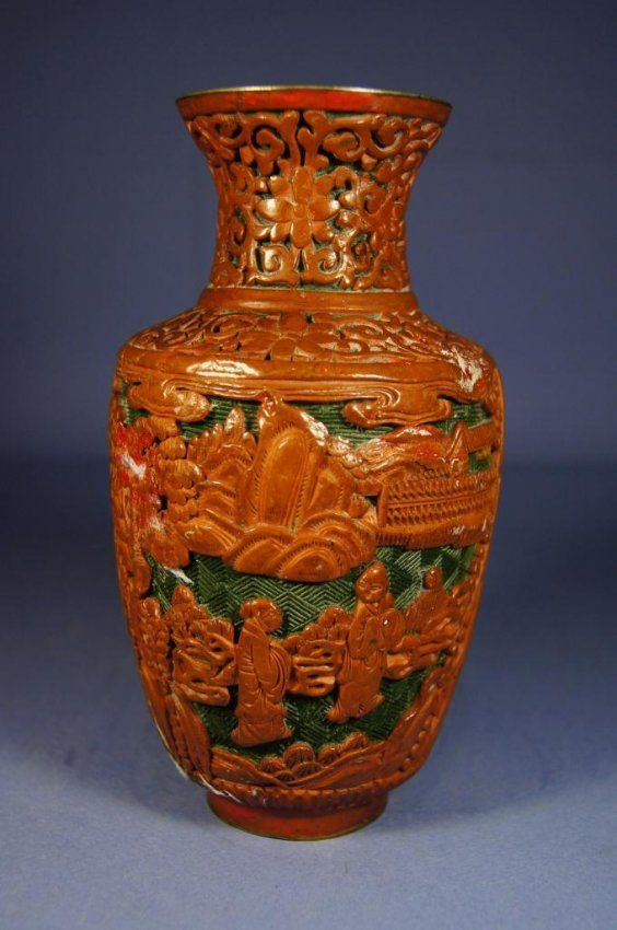 2 Chinese Antique Cinnabar Lacquer Vase Chinese