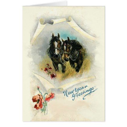 Horses Custom Christmas Greeting Card Holiday Card Diy Personalize Design Template Cyo Cards Idea