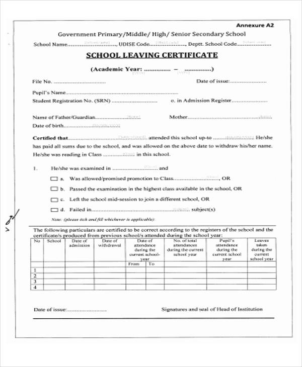 certificate leaving pdf templates template primary format secondary certificates senior sampletemplates letter smithchavezlaw