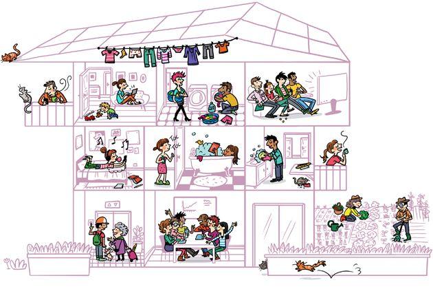 decrire les activites dans une maison au present voisin demande a qqun d aider et personne n. Black Bedroom Furniture Sets. Home Design Ideas