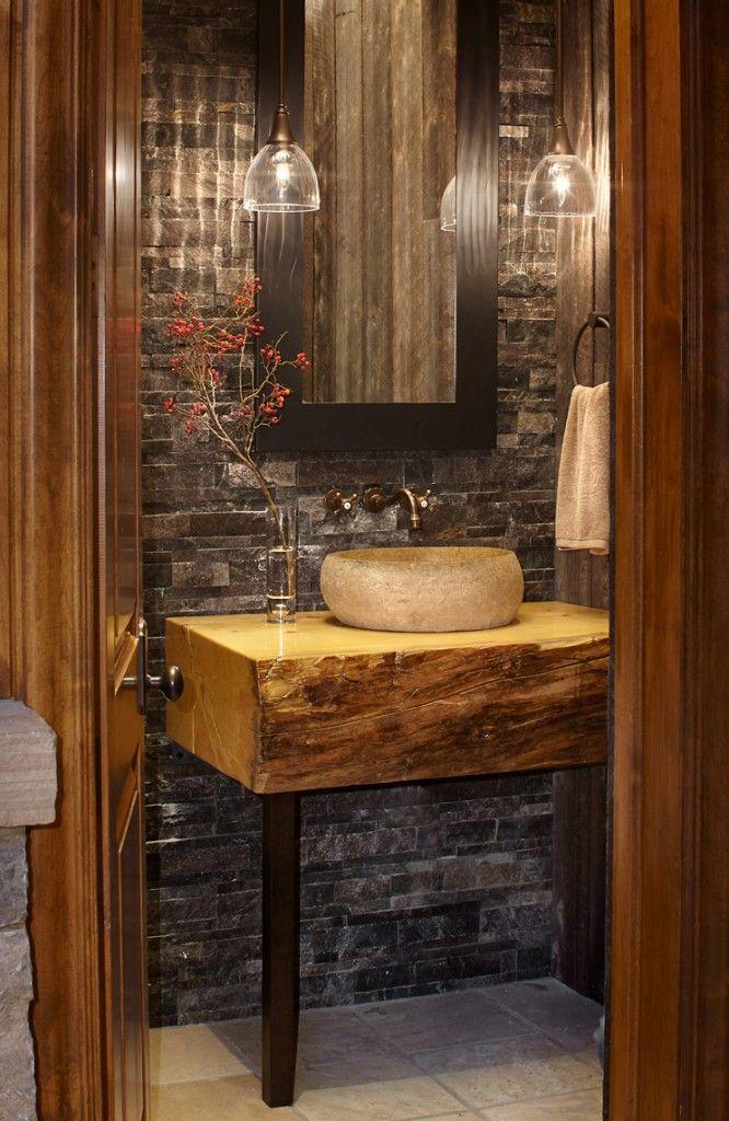 Banheiro Decorado Rústico_Decoração de banheiros,pia de madeira - lavabos rusticos