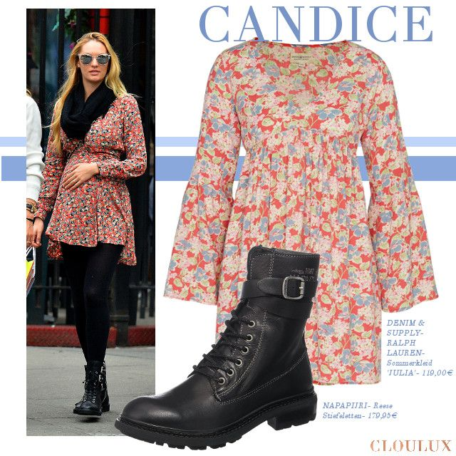 Candice Swanepoel trägt ein süßes sommerliches Kleid im angesagten Blumenprint. Ein perfekter Allrounder den ihr auch in den Übergangszeiten tragen könnt (wie hier an Candice mit Strumpfhosen).