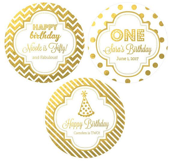 Gold Birthday Round Labels 24ct, Silver Foil, 1st Birthday