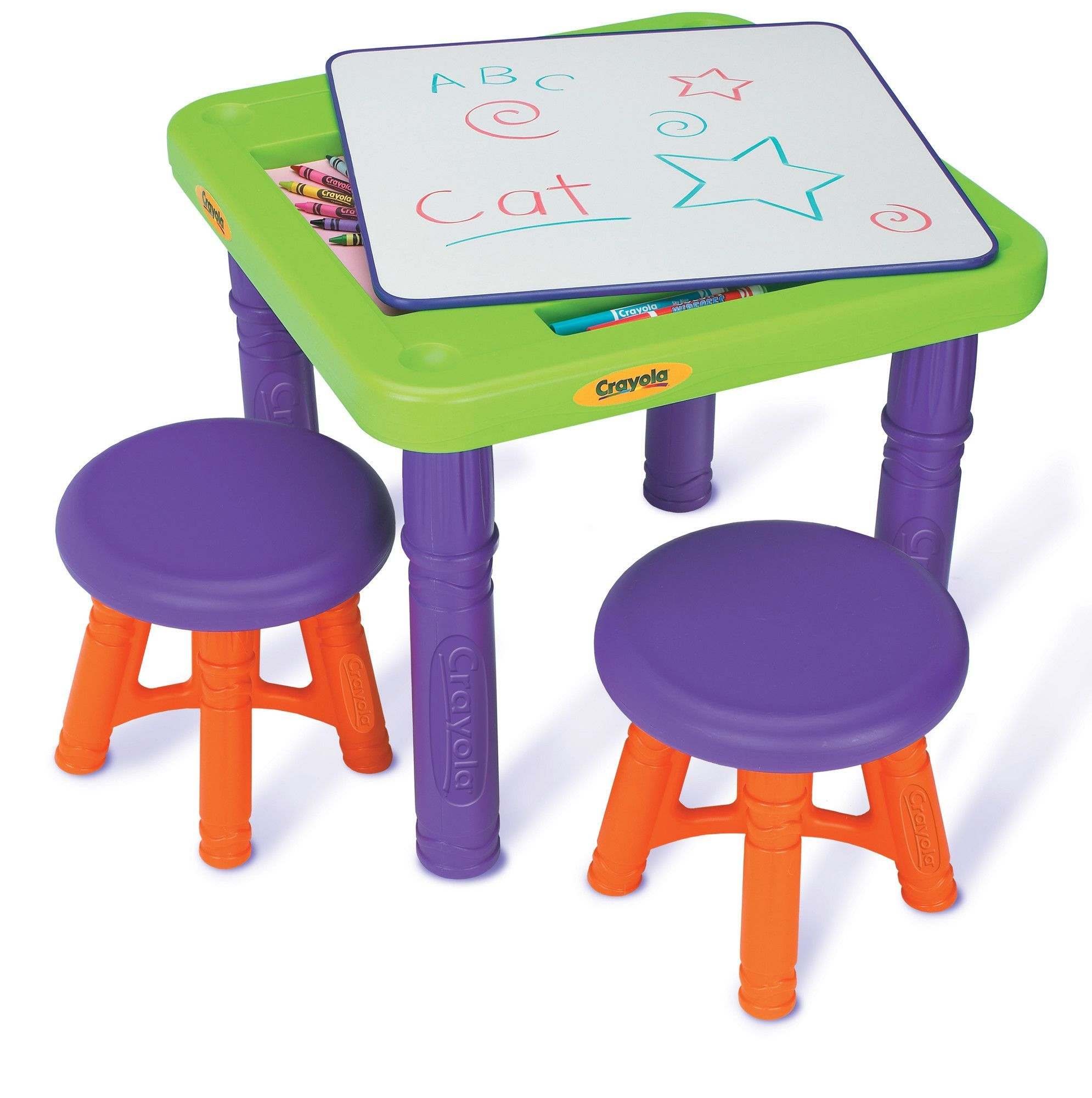 Crayola Sit N Draw Play Kids 3 Piece Table And Stool Set