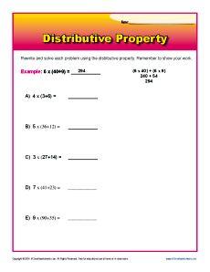 Distributive Property 3rd Grade Math Worksheets ...