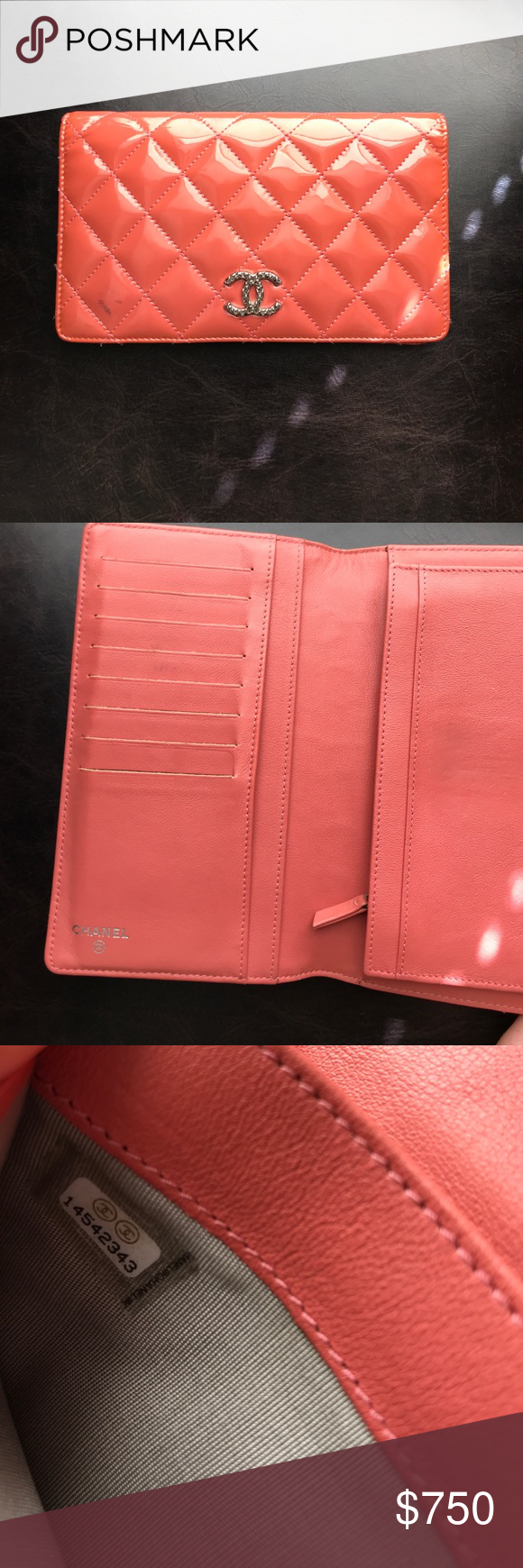 Authentic Chanel Pink Patent Leather Wallet  Chanel Pink Chanel