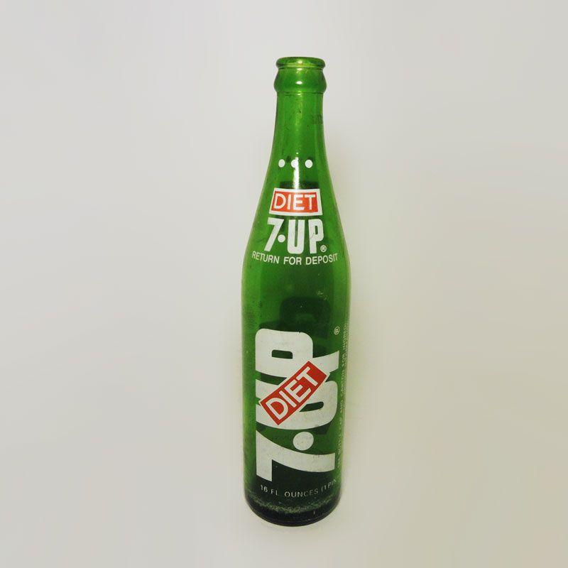 Vintage 1975 Diet Seven Three Dot Green Glass Soda