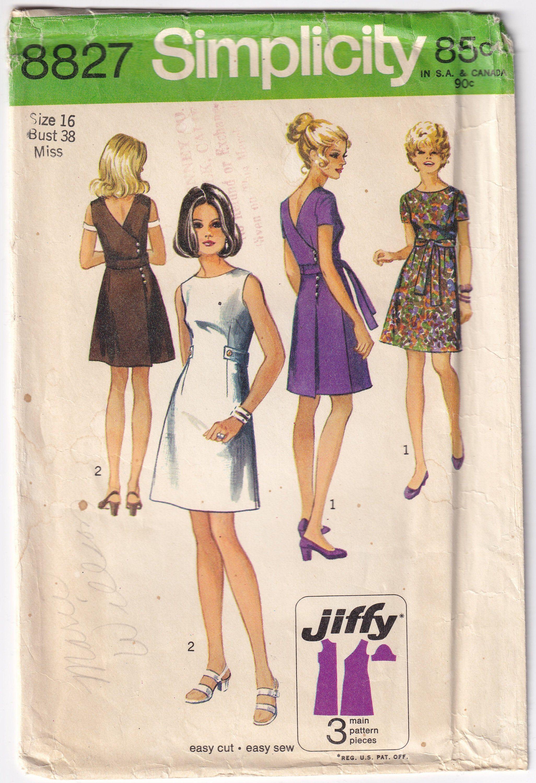 Vintage 1970 Simplicity 8827 Sewing Pattern Misses Jiffy Dress Etsy Vintage Dress Sewing Patterns Simplicity Patterns Dresses Sewing Dresses