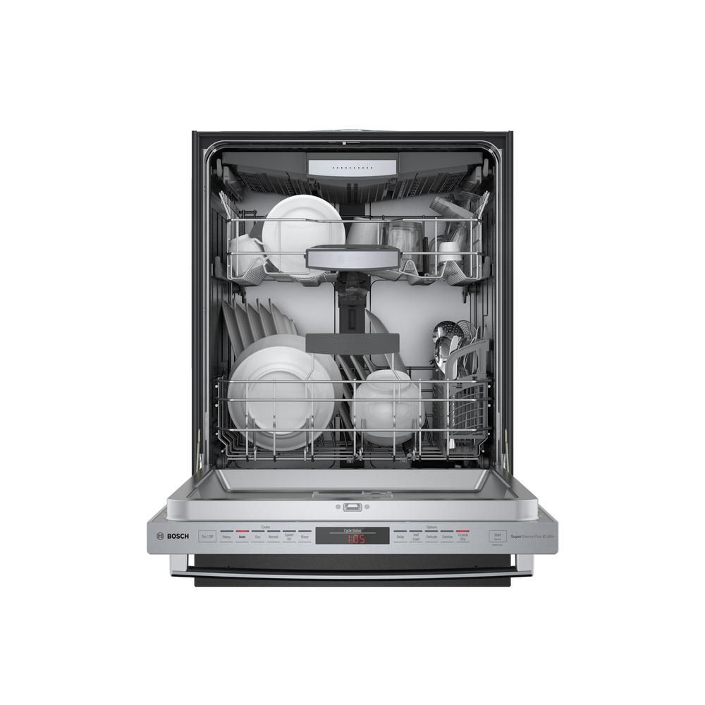 Bosch 800 Series 24 In Stainless Steel Top Control Tall Tub Dishwasher With Stainless Steel Tub Crystaldry 42dba Shxm78z55n The Home Depot Steel Tub Bosch Dishwashers Dishwasher