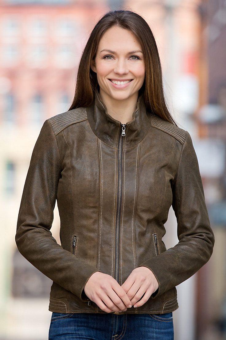 Lena Antique Lambskin Leather Jacket Lambskin leather
