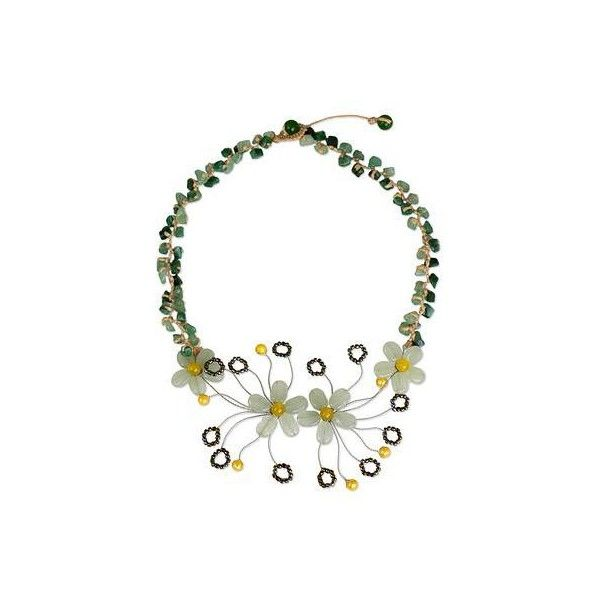 NOVICA Floral Pendant Necklace Crafted from Quartz and Pearls ($30) ❤ liked on Polyvore featuring jewelry, necklaces, pendant, yellow, quartz necklace, pearl pendant necklace, pearl bead necklace, pearl necklace and cord necklace