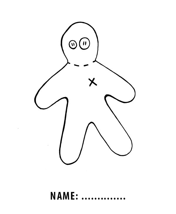 Cute free printable voodoo doll for Halloween craft, gift
