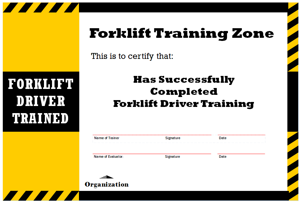 Equipment Operator Certification Card Template Beautiful How To Get Forklift Certification G Certificate Templates Certificate Of Completion Template Templates