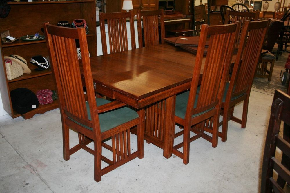 Amish Made Solid Wood Dining Set Table 6 Chairs Leaf And Heat