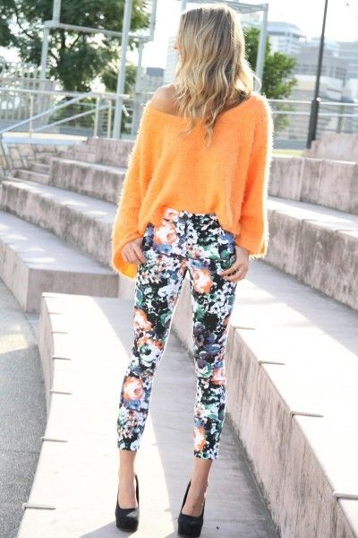 floral cropped pants with an off-the-shoulder tangerine sweater