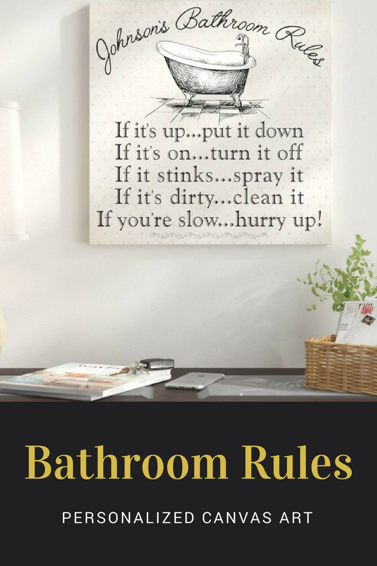 Personalized bathroom rules personalized canvas art bathroom wall