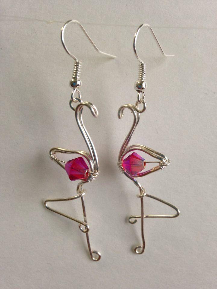 Photo of Rosa Flamingo Ohrringe Draht umwickelt Flamingo Flamingo Schmuck Made in USA Hypoal …