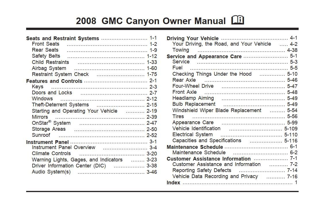 Gmc Canyon 2008 Owner S Manual Pdf Online Download Owners Manuals Pontiac Pontiac Vibe