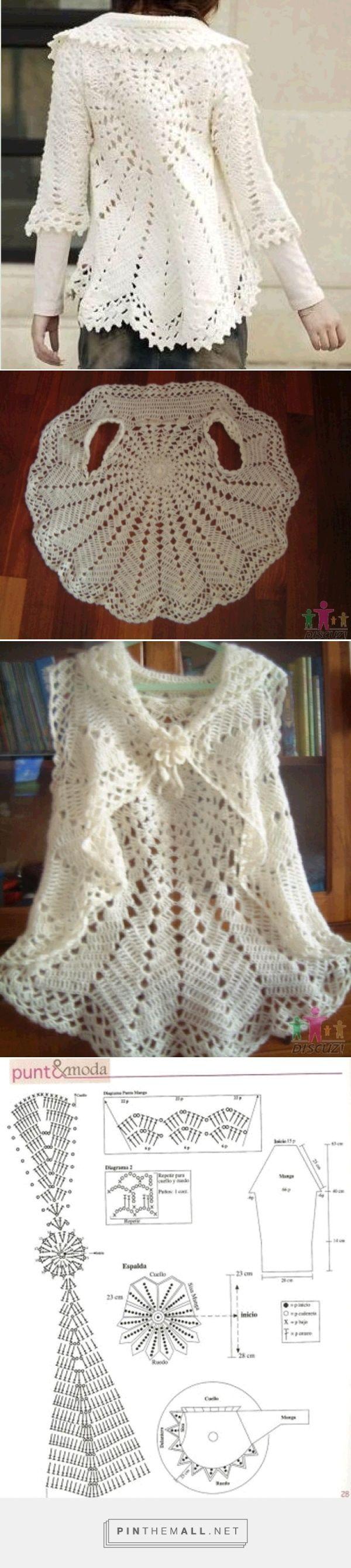 Crochet Lace Round Bolero/Jacket with Sleeves ~~ http://crochet103 ...