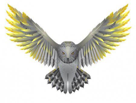 Сова с золотыми крыльями | Tatuaże