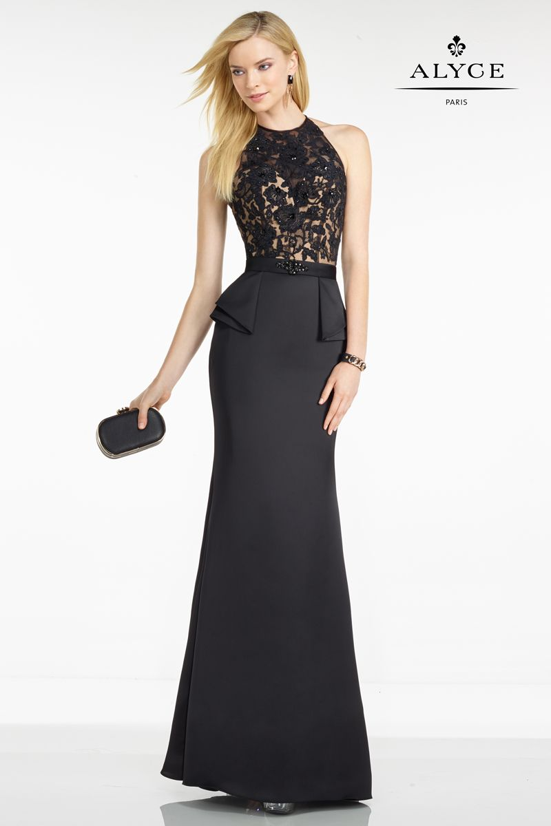 5752 Black/Nude Splendid halter-style gown from Black Label by Alyce ...