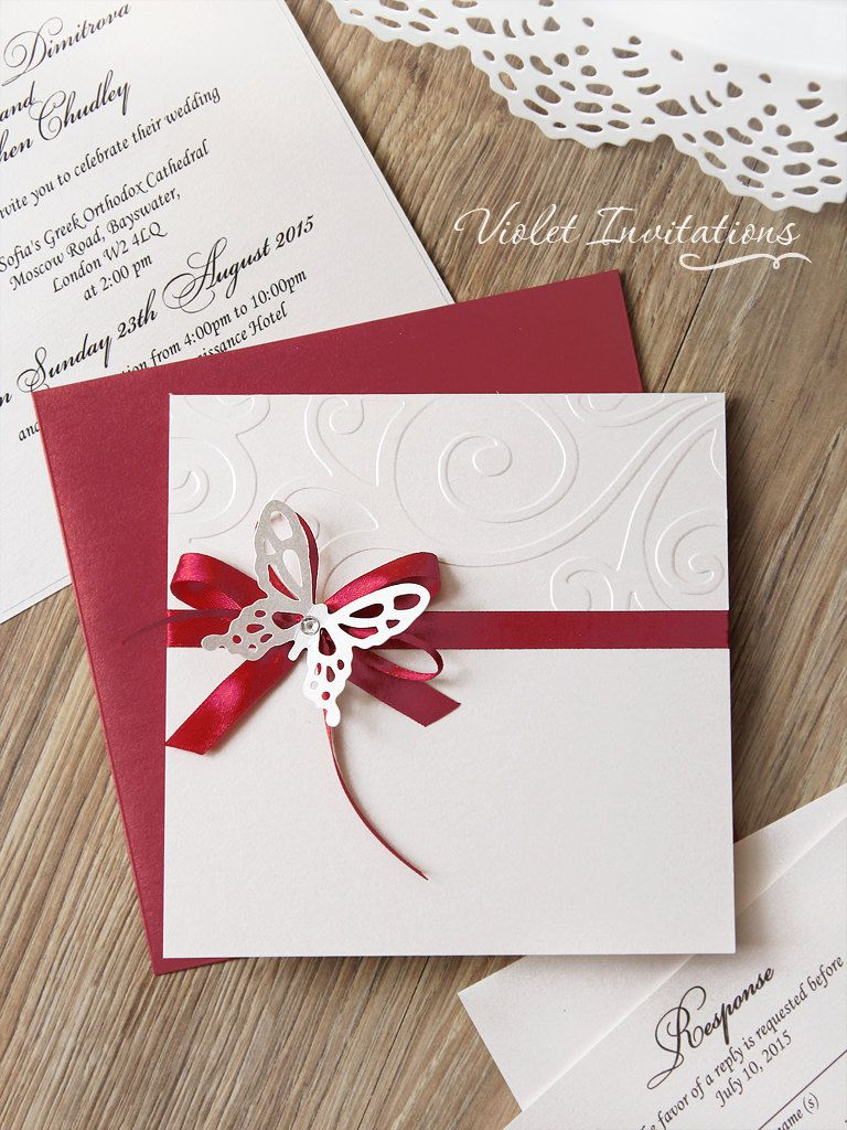 Butterfly Burgundy Handmade Ribbon Wedding Invitation, Butterfly ...