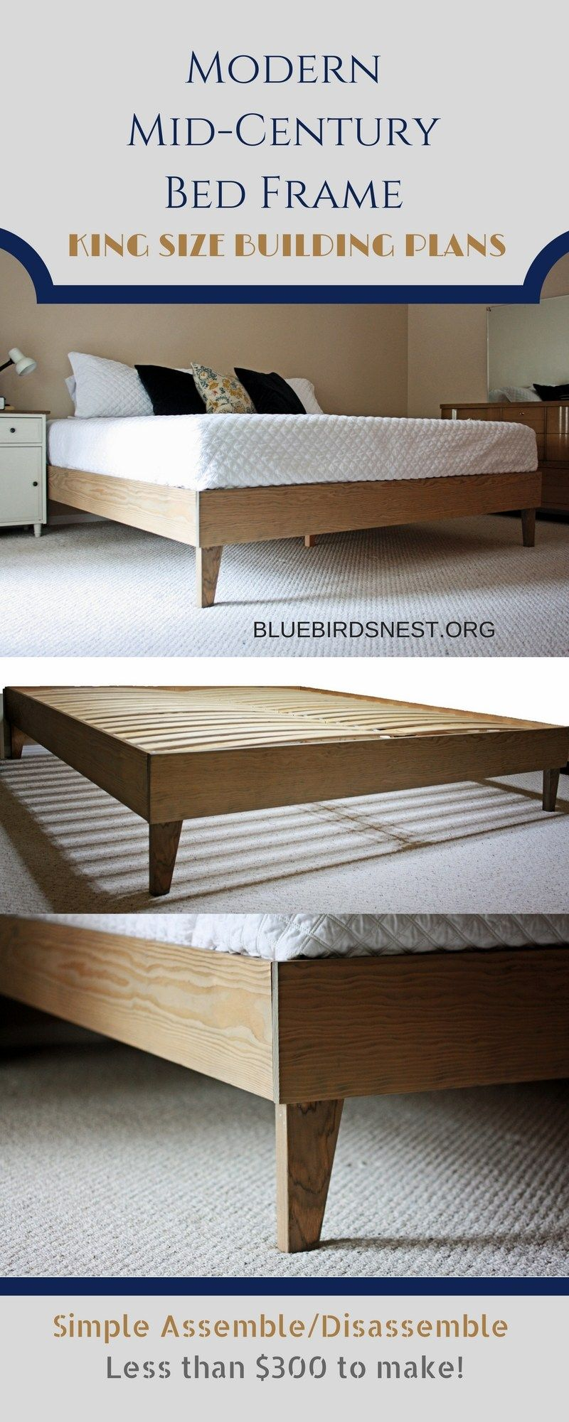King Size Bed Frame Modern Mid Century Platform Building Plans