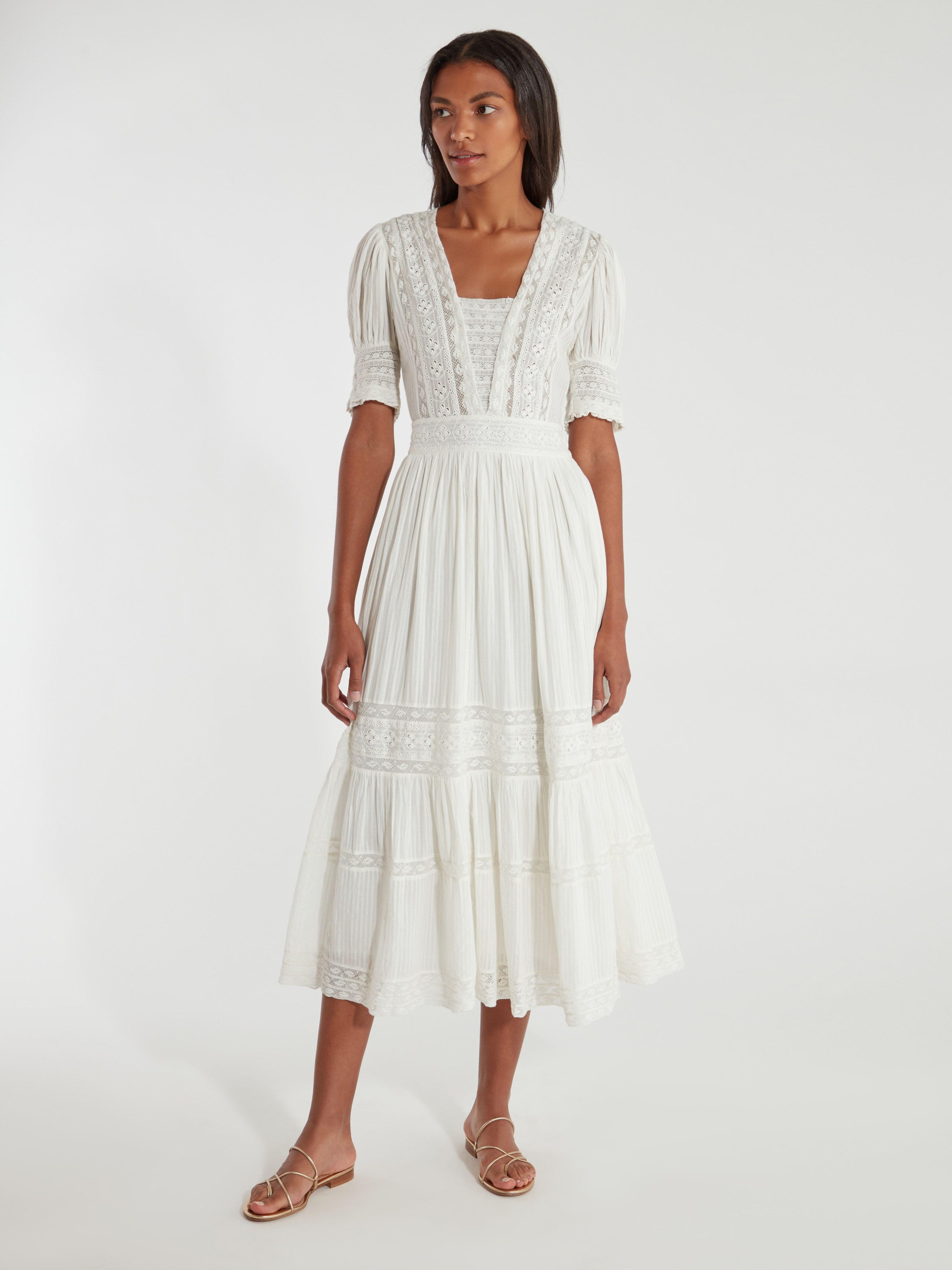 Loveshackfancy Ayla Lace Trim Cotton Dress Antique White Dresses Cotton Dresses Dapper Dress [ 4000 x 3000 Pixel ]
