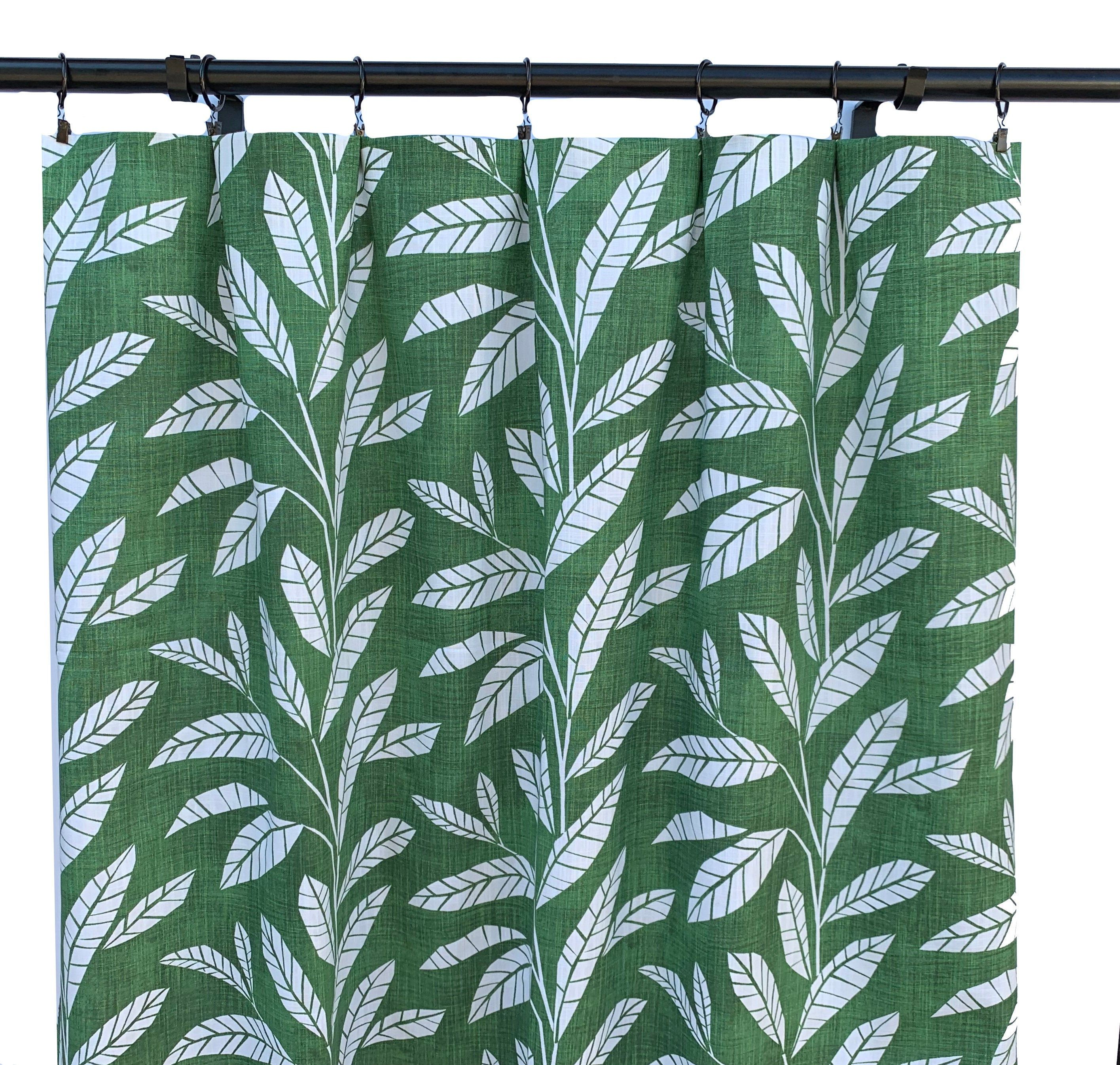 Green Tropical Curtains Green Palm Curtain 2 Curtain Panels