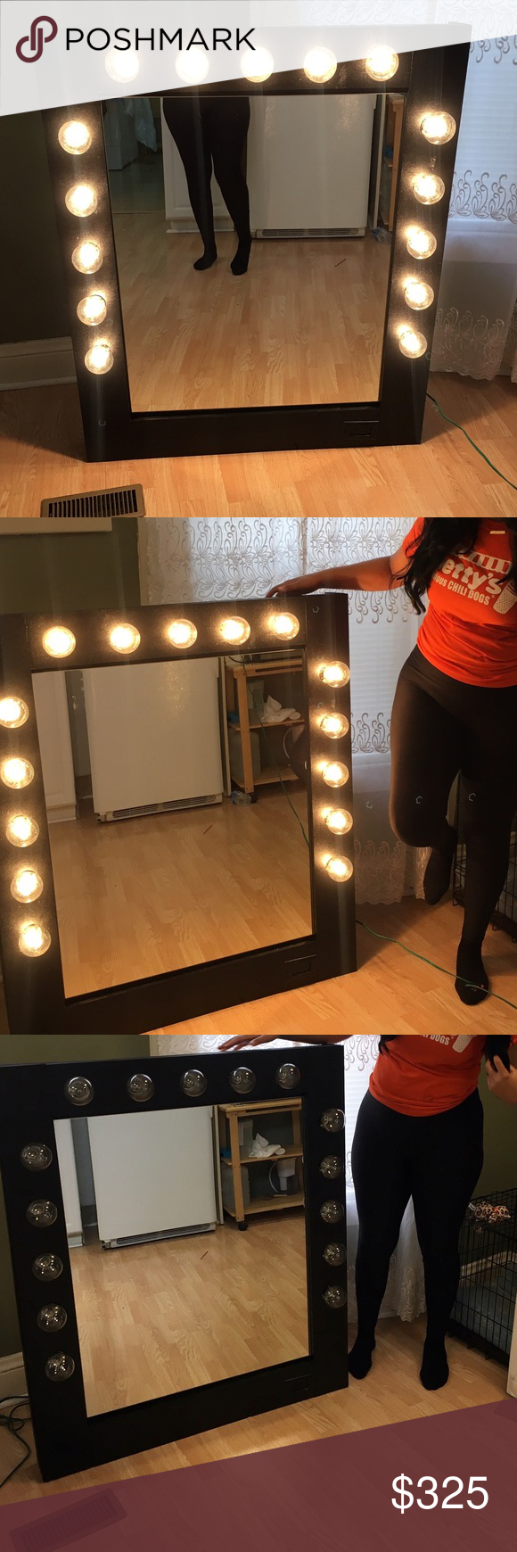 Black Vanity Mirror With Hollywood Lights This Is An Amazing 4fy Tall That Can Sit On Any Flat Surface And Come All Of The Bulbs Already