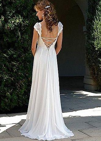 Elegant Exquisite Chiffon V-Neck And Cap Sleeve Wedding Dress by WEDDINGDRESS626