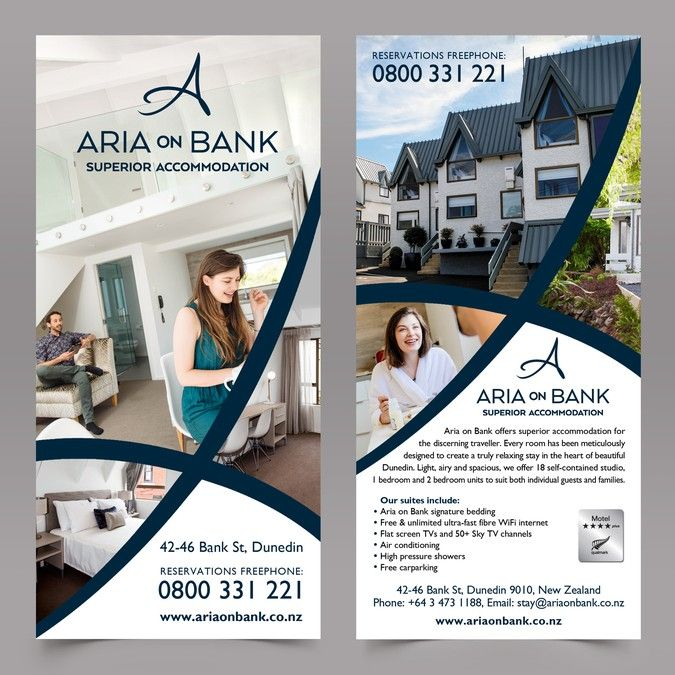 Two sided rack card needed for premium motel aria on bank by business cards reheart Gallery