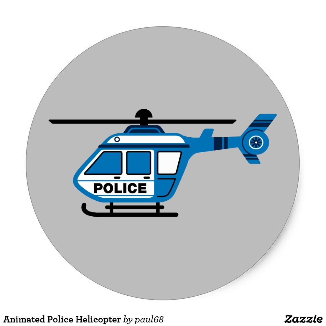 Animated Police Helicopter Classic Round Sticker