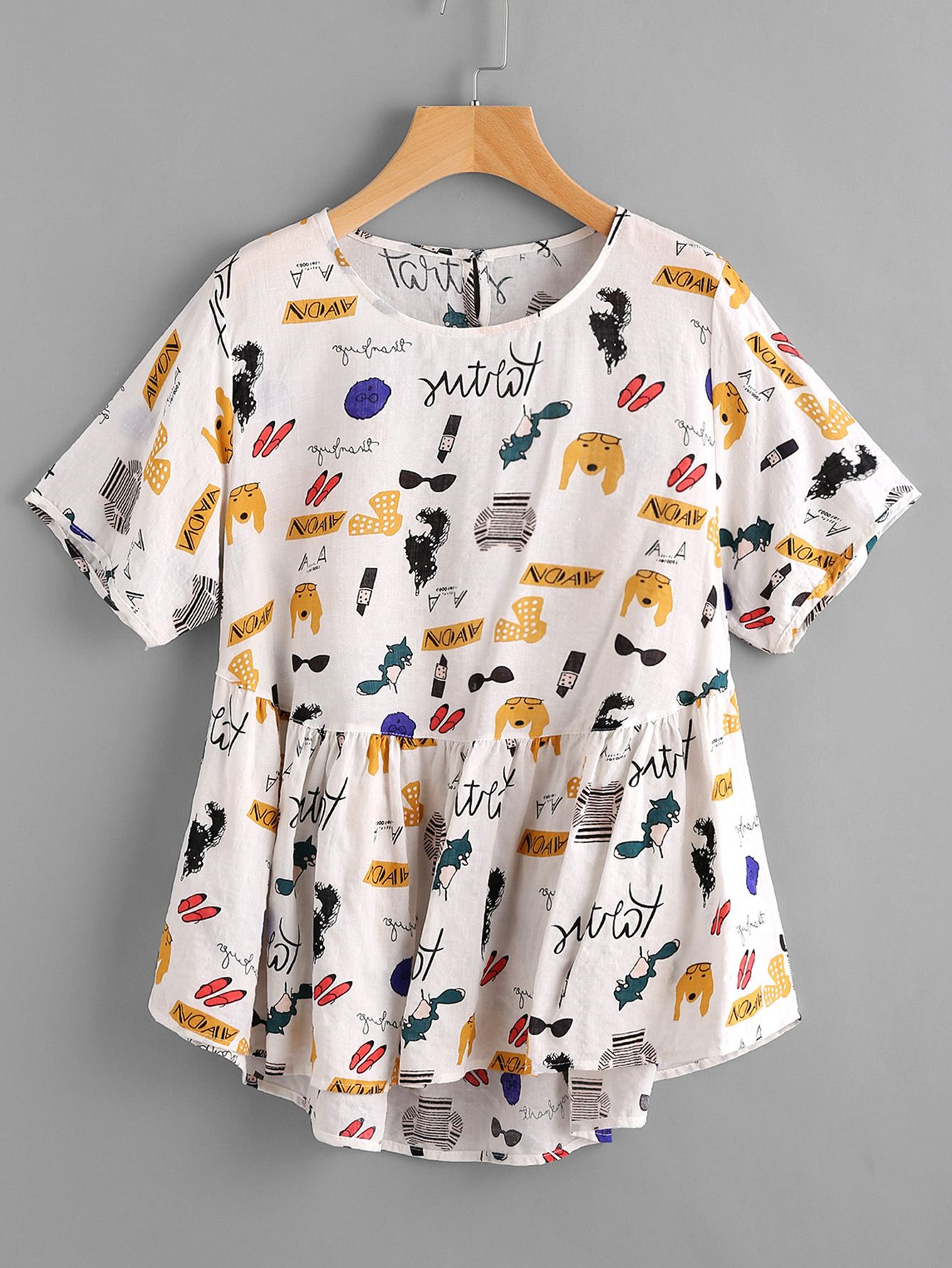 102fc23be0 Cartoon Print Keyhole Back Dip Hem Smock Blouse | Tops | Blouse ...