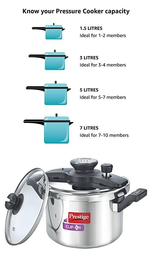 0cf7ef3a201f Prestige Clip On Stainless Steel Pressure Cooker with Glass Lid, 5 Litres,  2-