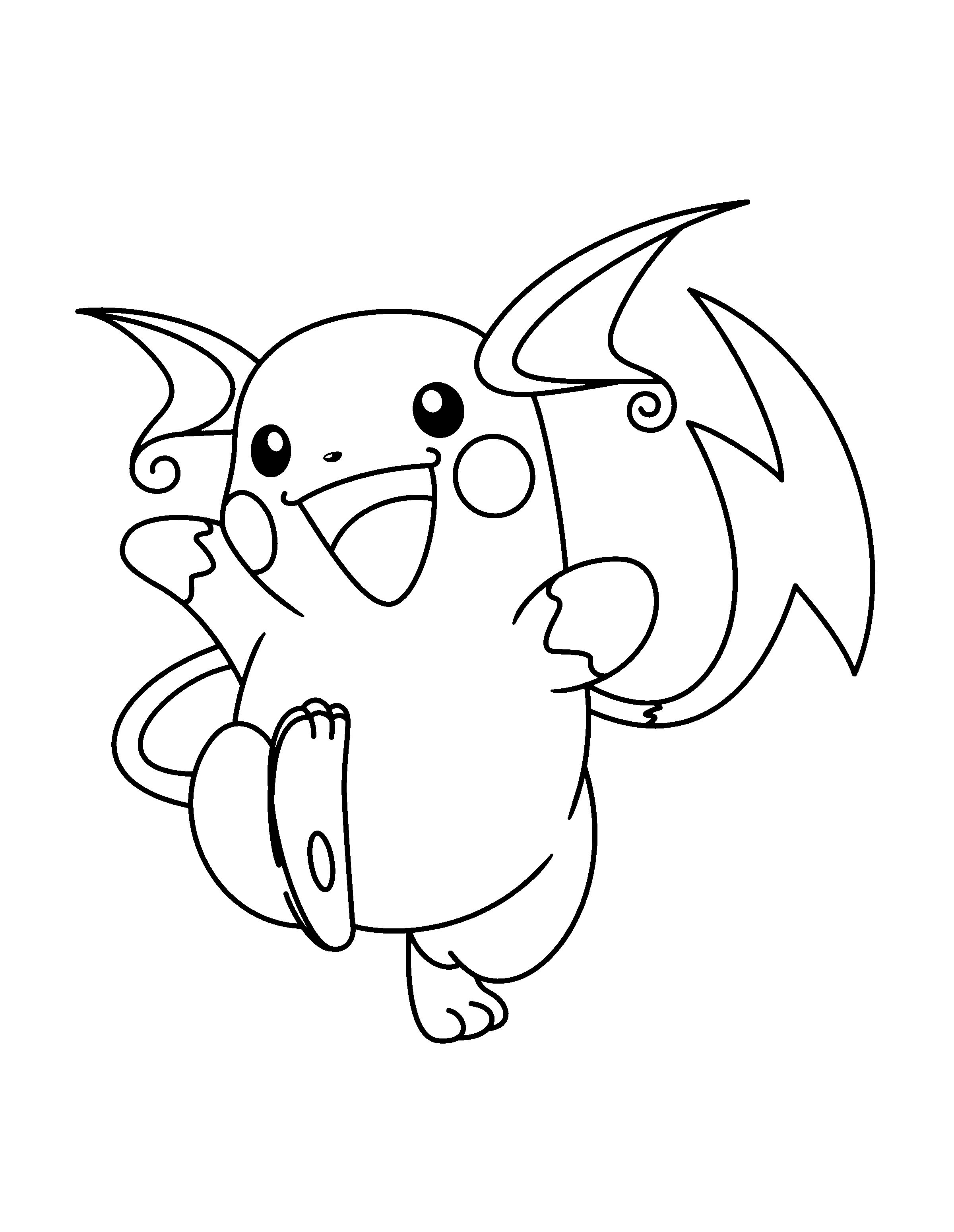 Raichu Coloring Pages To Print Pokemon Coloring Pages Pokemon Coloring Pokemon Coloring Sheets