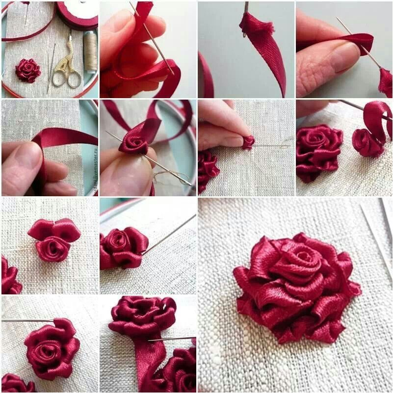 Diy Ribbon Roses That Look Delicate And Pretty Ribbion Stiches